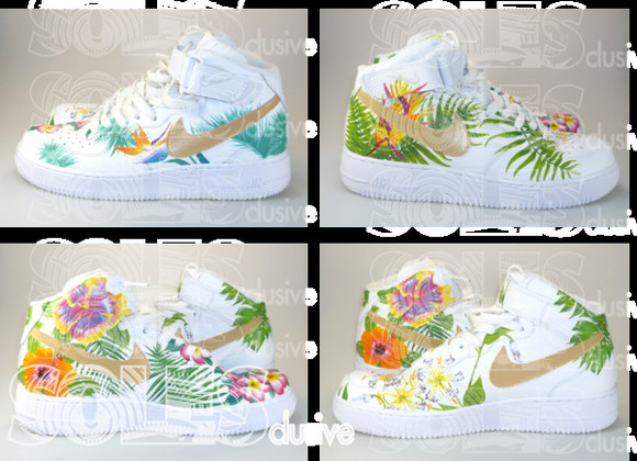 shoes sneakers air force air force 1 air force ones floral nikes tropical tropical nikes palm tree print palm leaf floral custom sneakers SOLESclusive tropical air max summer outfits