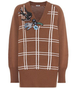sweater wool sweater embellished wool brown