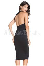 dress,midi dress,black dress,open back,open back dresses,halter dress
