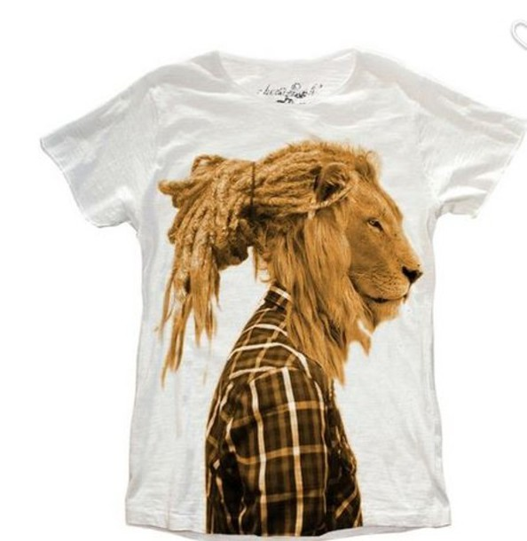 T-shirt: mens shirt, lion, lion t-shirt, lion shirt, cool, white ...