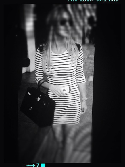 blue and white striped dress marine