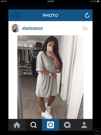 grey grey t-shirt dope tumblr outfit fashion style urban oversized t-shirt dress