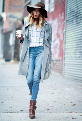 the marcy stop blogger coat shirt hat bag jeans shoes
