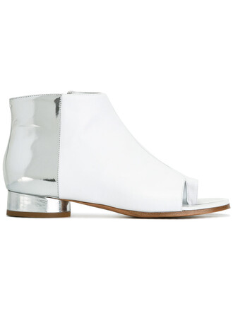 metallic women boots leather white shoes