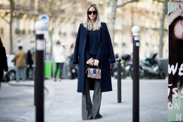 the fashion guitar blogger grey pants navy long coat