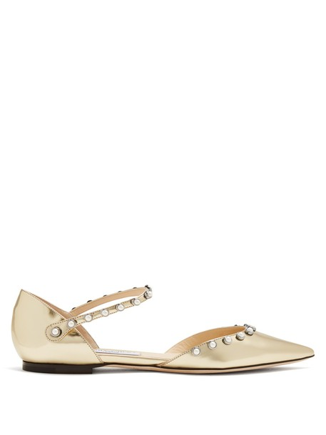 Jimmy Choo pearl embellished flats leather flats leather gold shoes