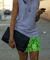 skirt,green skirt,lace skirt,mini skirt,neon