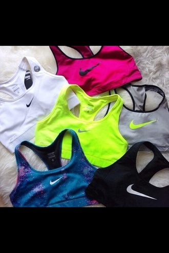 tank top rihanna usa top sports bra nike neon pink grey galaxy sports bra just do it athletic ️workout clothes