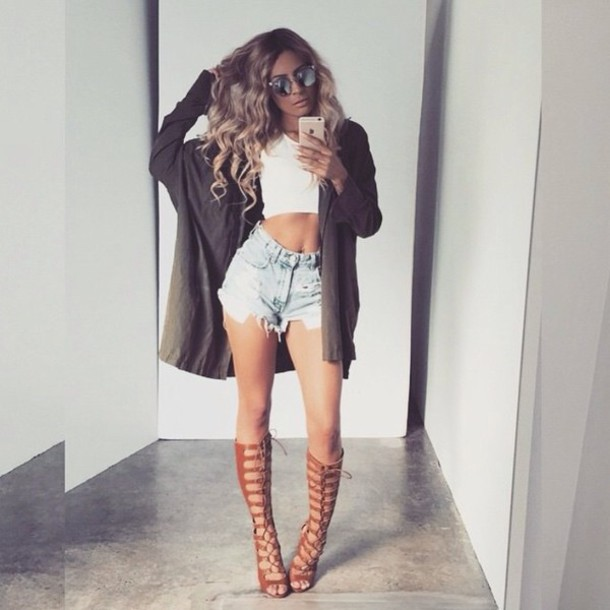 Shoes: heels, nude, knee high gladiator sandals, cardigan, shorts ...
