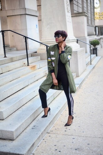 skinny hipster blogger make-up jumpsuit jacket shoes army green jacket leggings high heels high heel pumps fall outfits