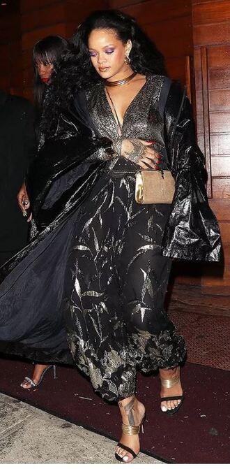 top wrap top skirt maxi skirt crop tops rihanna grammys metallic coat shoes