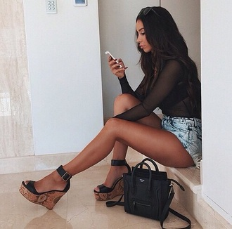 shoes black wedges summer style fashion blouse