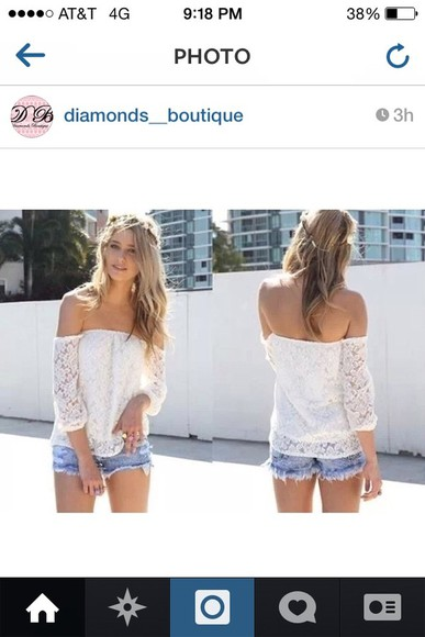 shirt off the shoulder lace