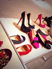shoes,louboutin,sexy,black,spikes,red,high heels,loafers