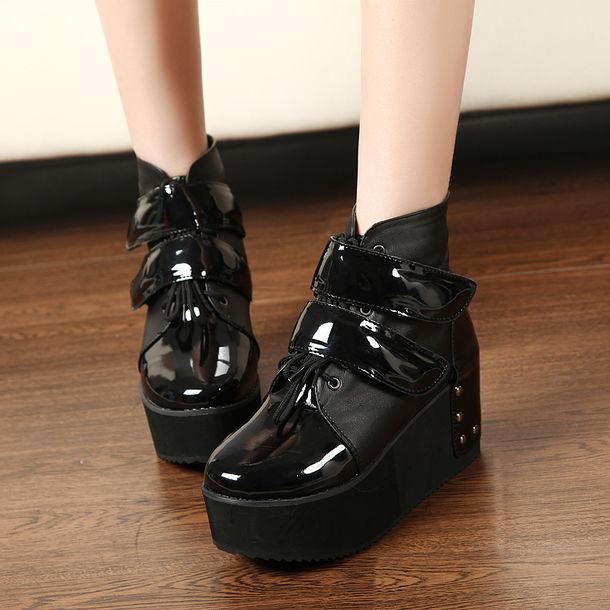 shoes platform shoes wedges velcro shoes velcro platforms black shoes aliexpress platform shoes wedge platform black platforms satin shoes