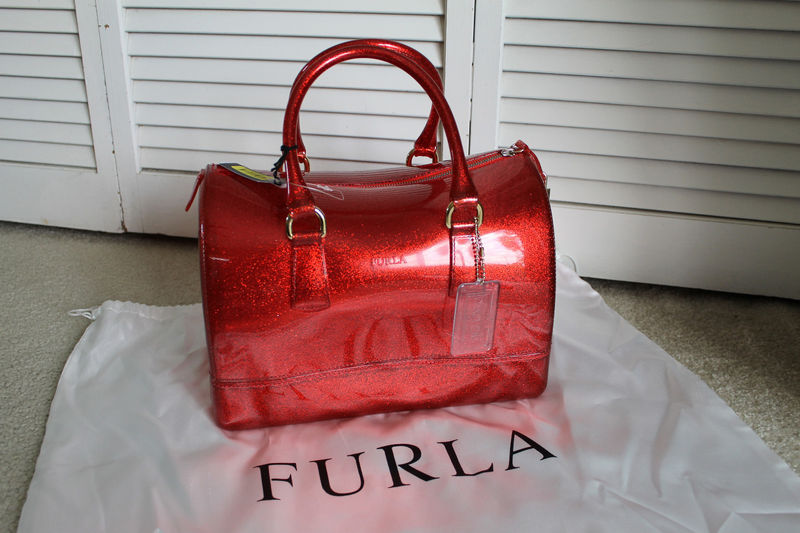 Furla Candy Rosso Red Glitter Satchel Jelly Bauletto Bag w/Lock ...