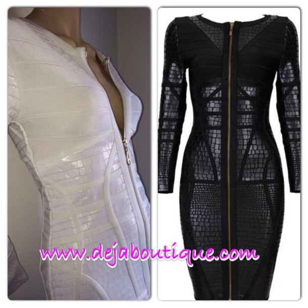 dress white snakeskin bandage dress