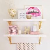 home accessory,letter m,lips art work,shelves,bathroom,lips,girly,gold,beauty organizer,metallic home decor