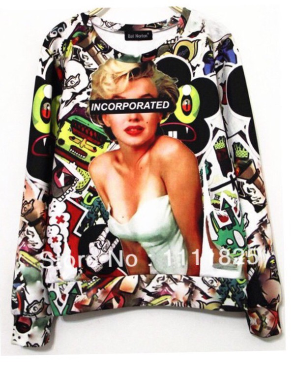 sweatshirt fashion sweatshirt marilyn monroe sweatshirt