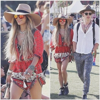 dress romper red red playsuit vanessa hudgens playsuit sun glasses hat red boho tribal long sleeves