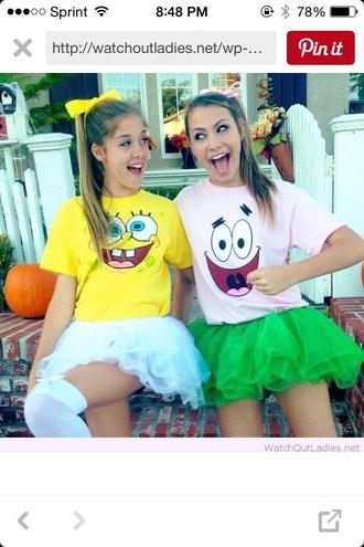 shirt spongebob patrick pink yellow green white tutu halloween costume bows