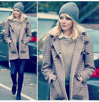 emma stone beige duffle coat coat