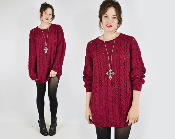 vtg 80s 90s grunge revival maroon chunky open by trashyvintage