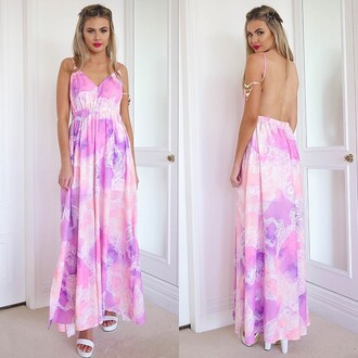dress maxi printed maxi purple maxi pink maxi purple and pink bossy the label backless backless maxi maxi dress peppermayo