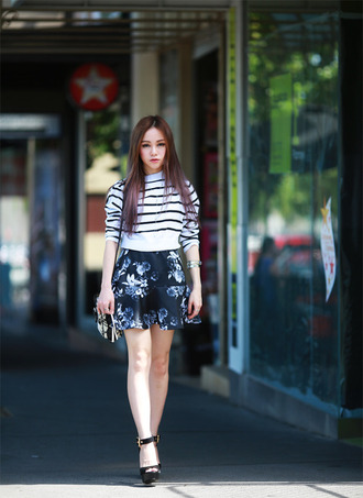 chloe ting blogger bag jewels striped sweater floral skirt