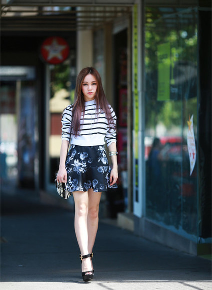 floral skirt jewels blogger bag chloe ting striped sweater