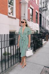 dress,midi dress,striped dress,v neck dress,mid heel sandals,handbag,sunglasses,earrings