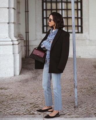 le fashion blogger jacket jeans blazer black blazer denim jacket flats