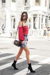 skirt,mini skirt,denim skirt,belt,blogger,blogger style,sock boots,off the shoulder top,crossbody bag,gucci bag