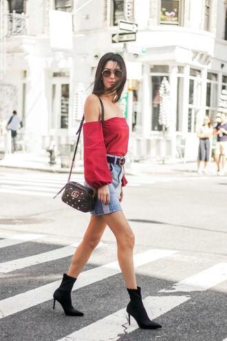skirt mini skirt denim skirt belt blogger blogger style sock boots off the shoulder top crossbody bag gucci bag