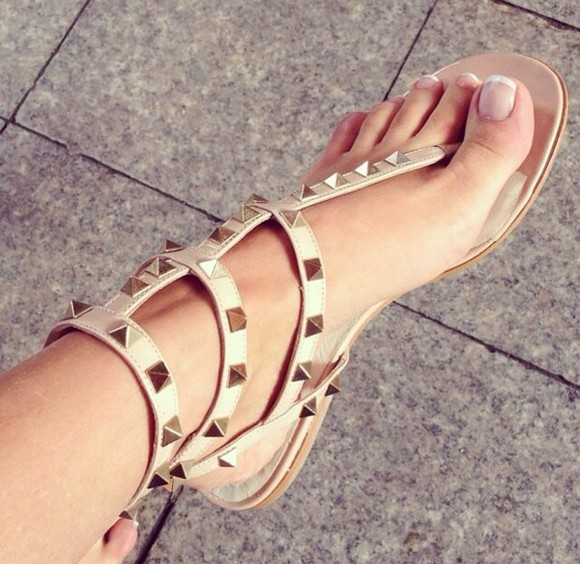 shoes sandals nude sandals style fashion studded shoes