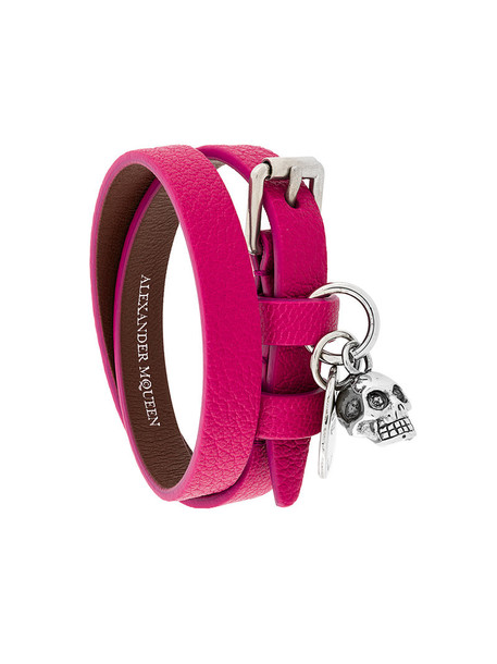 Alexander Mcqueen skull women leather purple pink jewels