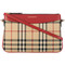 Burberry - house check shoulder bag - women - cotton/leather - one size, red, cotton/leather