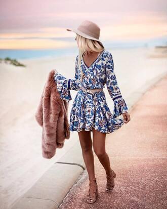 dress tumblr mini dress floral printed dress long sleeves long sleeve dress sandals sandal heels high heel sandals hat sun hat belt shoes