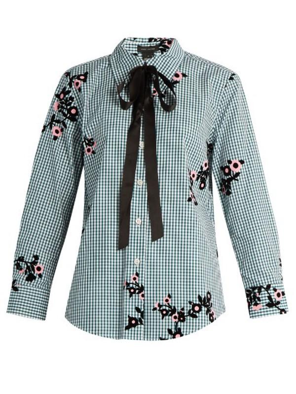 14236dc92019 GUCCI Decorative-bow silk-georgette shirt in green / multi - Wheretoget