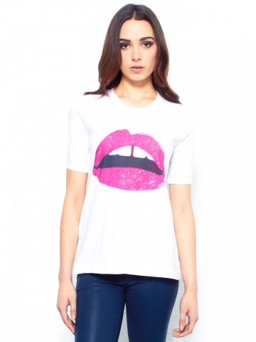 Pink Glitter Lips T-Shirt by Markus Lupfer - Glassworks Studios