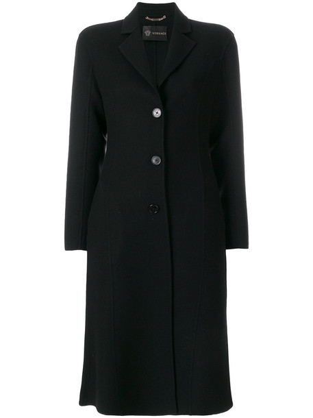 VERSACE coat women black wool