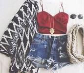 top,red,bustier tank