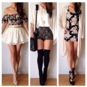 shorts,skirt,dress,shirt,sweater,shoes,floral,High waisted shorts,lace,cute,white,cardigan,t-shirt,blouse,underwear,flowers,black,girly,little flower dress,pull,short,bag,pink,light pink,vintage,retro,lace skirt,lace skater skirt,skater skirt,heels,tassel,gypsy top,romper,beige,jacket,pattern,green,blue,outfit,top,floral prints,off the shoulder top,Cute belts,tumblr shorts,tumblr outfit,forever 21,lace dress,floral dress,fashion,style,sunglasses,white dress,white crop tops,white shirt,jumpsuit,black dress,party,party dress,prom dress,jewels,crochet,high heels,boots,nude,classy,high waisted,black heels,black shoes,mini skirt,black shirt,flowered shorts,floral tank top,floral skirt,floral shirt,floral t shirt,denim jacket,denim shorts,make-up,crochet crop top,socks,belt,strapless,black floral dress,bodycon,cut floral outfits,shorts floral,spandex,boho chic,cute outfits