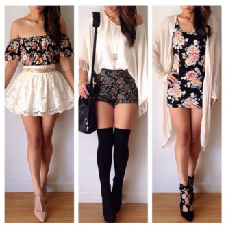 shorts skirt dress shirt sweater shoes black cardigan blouse high waisted shorts top knitted cardigan festival jumper knee high socks socks flowers belt bag off white blouse shorts floral