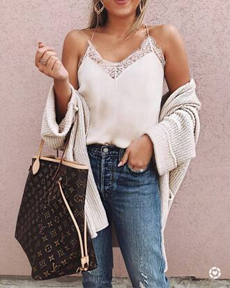 underwear tumblr white top lace top white lace top denim jeans blue jeans cardigan white cardigan bag