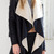 Black Lapel Shearling Lining Asymmetric Hem PU Coat - Choies.com