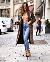 coat,long coat,leopard print,jeans,high waisted jeans,pumps,slingbacks,turtleneck,chain necklace,shoulder bag