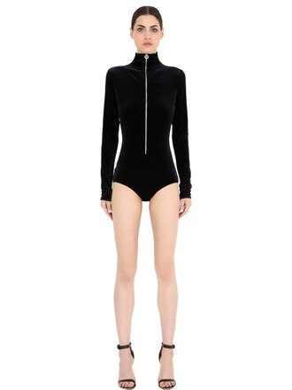 bodysuit zip velvet black underwear