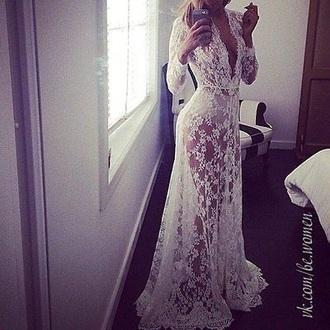 dress lace dress white long dress