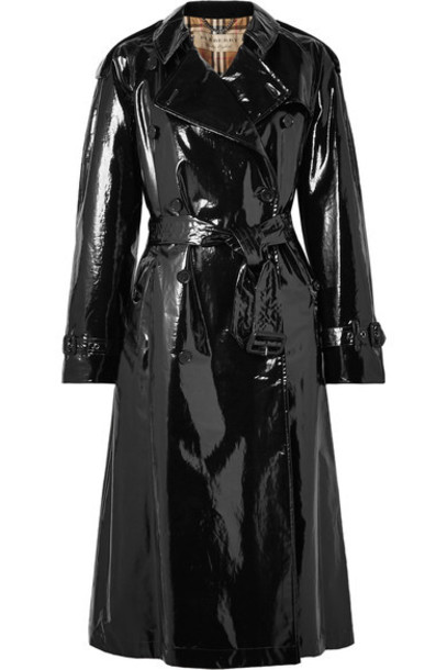 coat trench coat cotton black